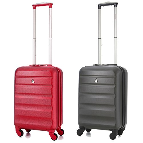 Aerolite Lightweight ABS Hard Shell Luggage Suitcase Travel Trolley with 4 Wheels (21in + 21in, Charcoal/Wine)